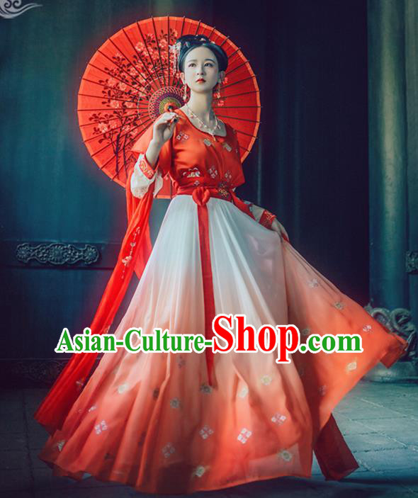 Chinese Traditional Tang Dynasty Princess Replica Costume Ancient Peri Red Embroidered Dress for Women