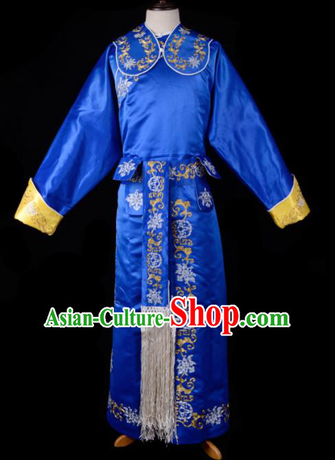Professional Chinese Beijing Opera Takefu Costume Traditional Ancient Swordsman Embroidered Blue Clothing for Adults