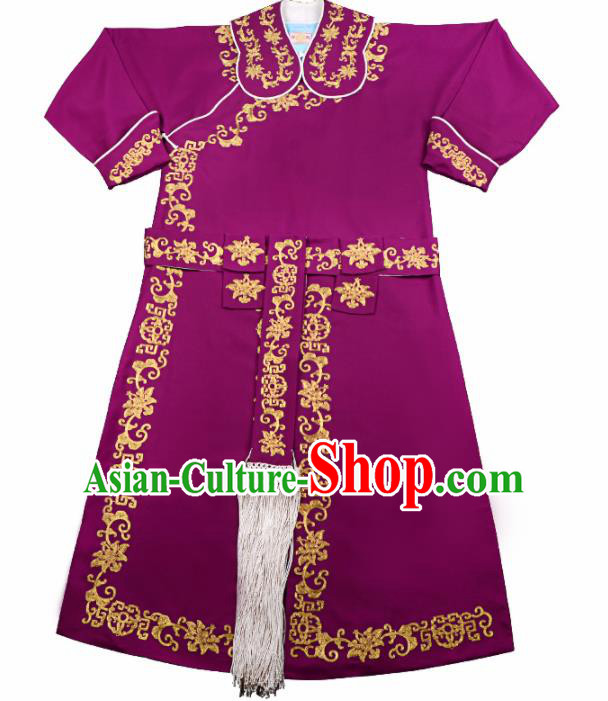 Professional Chinese Beijing Opera Takefu Costume Traditional Ancient Swordsman Embroidered Wine Red Clothing for Adults