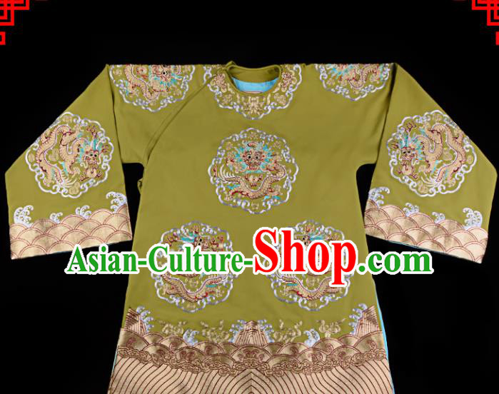 Professional Chinese Traditional Beijing Opera Old Women Embroidered Green Costume for Adults