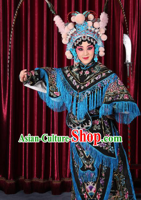 Professional Chinese Traditional Beijing Opera Magic Warriors Black Costume for Adults