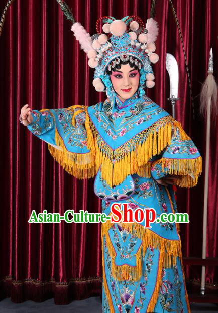 Professional Chinese Traditional Beijing Opera Magic Warriors Blue Costume for Adults