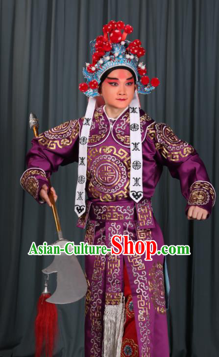 Professional Chinese Beijing Opera Takefu Costume Ancient Swordsman Purple Clothing for Adults