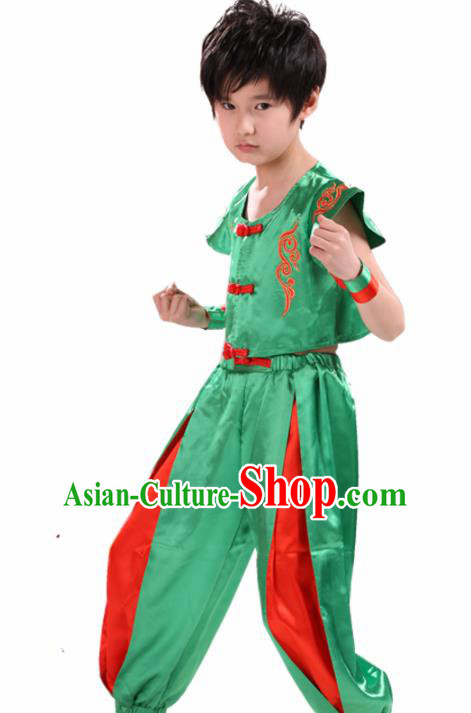 Chinese Traditional Dance Costume Folk Dance Drum Dance Green Clothing for Kids
