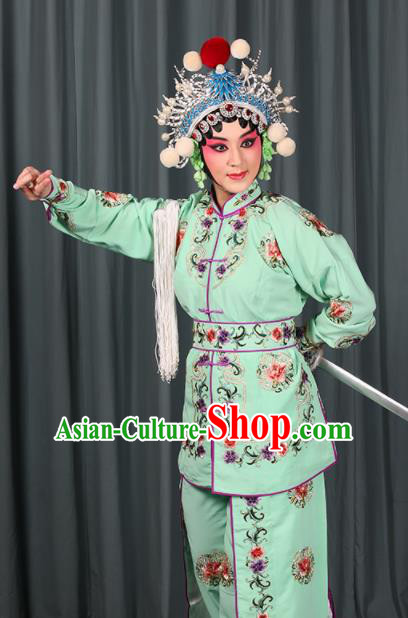 Professional Chinese Traditional Beijing Opera Blues Magic Warriors Green Costume for Adults