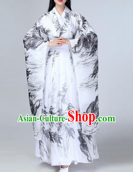 Chinese Traditional Stage Performance Dance Costume Classical Dance Ink Painting Dress for Women