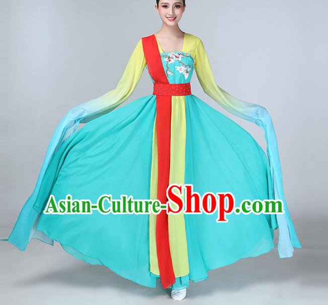 Chinese Traditional Water Sleeve Dance Costume Classical Dance Blue Dress for Women