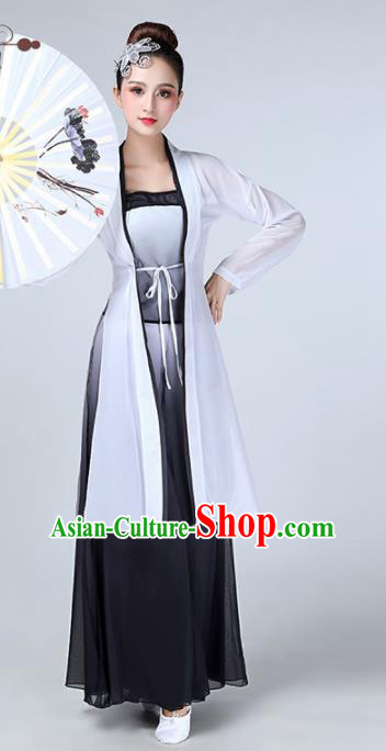 Chinese Traditional Stage Performance Classical Dance Costume Umbrella Dance Black Dress for Women
