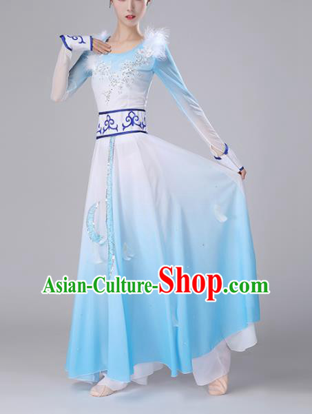 Chinese Traditional Ethnic Stage Performance Classical Dance Costume Umbrella Dance Blue Dress for Women