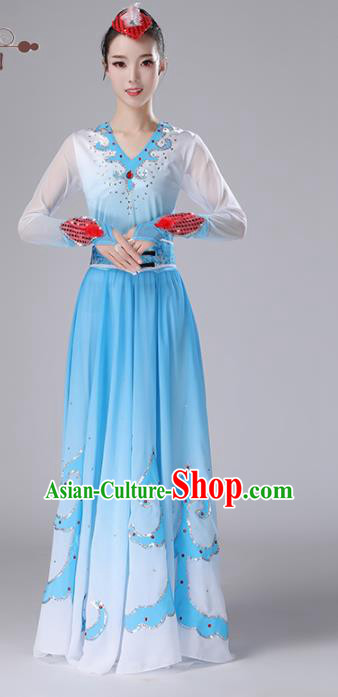 Chinese Traditional Ethnic Stage Performance Costume Classical Dance Umbrella Dance Blue Dress for Women