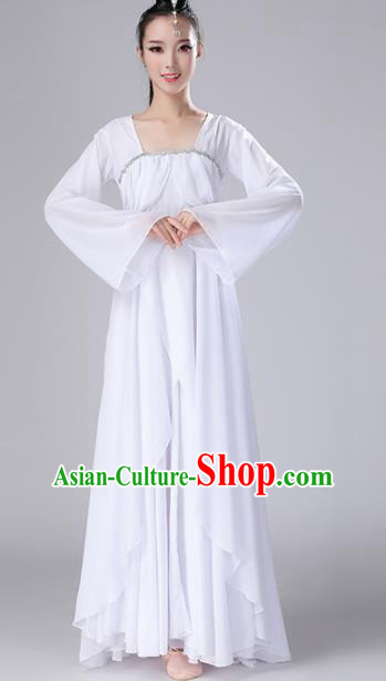Chinese Traditional Classical Dance White Dress Stage Performance Umbrella Dance Costume for Women