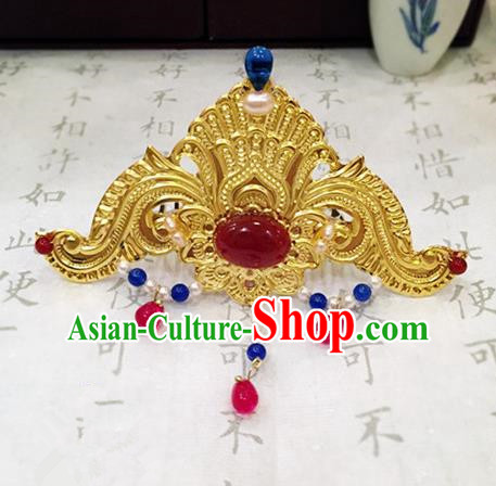 Chinese Ancient Handmade Agate Hair Crown Golden Hairpins Traditional Classical Hair Accessories for Women