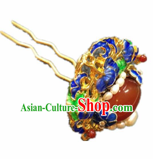 Chinese Ancient Handmade Palace Blueing Agate Hairpins Traditional Classical Hair Accessories for Women