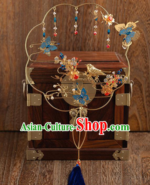 Chinese Traditional Handmade Palace Fans Classical Wedding Blueing Fans for Women