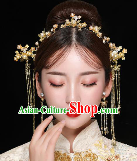 Chinese Ancient Handmade Golden Hair Clasp Bride Hairpins Traditional Classical Wedding Hair Accessories for Women
