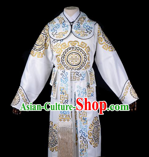 Professional Chinese Beijing Opera Takefu Costume Ancient Swordsmen White Clothing for Adults