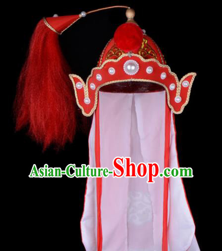 Chinese Beijing Opera Takefu Hair Accessories Ancient Soldier Red Hat for Men