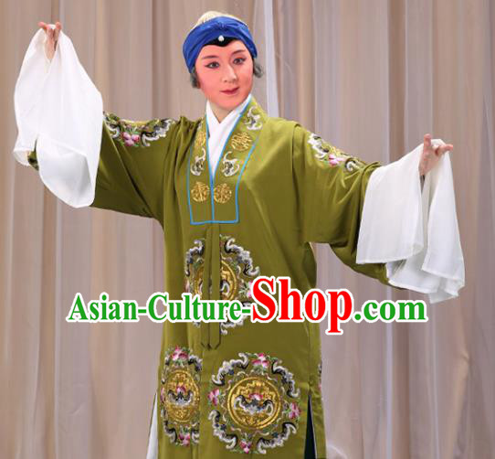 Professional Chinese Traditional Beijing Opera Old Female Costume Embroidered Green Dress for Adults