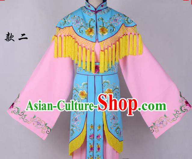 Professional Chinese Traditional Beijing Opera Costume Peri Blue Embroidered Dress for Adults