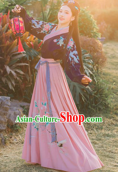 Chinese Ancient Embroidered Hanfu Dress Ming Dynasty Young Lady Traditional Historical Costume for Women