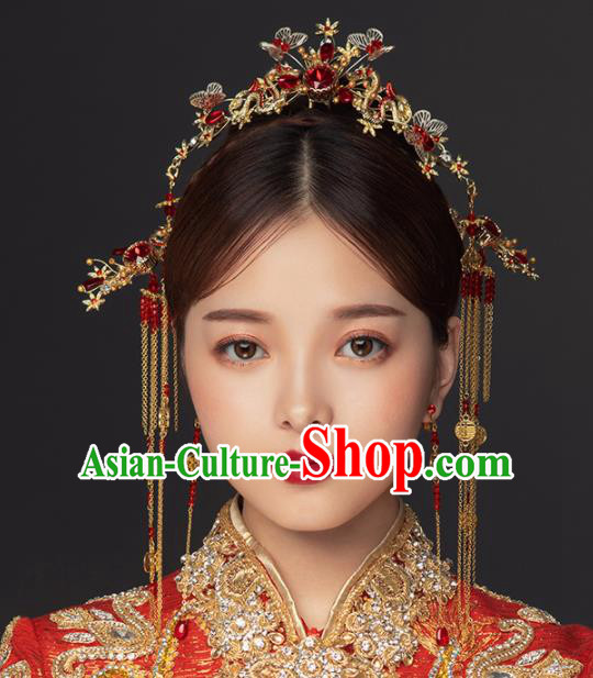 Chinese Ancient Handmade Bride Butterfly Hair Clasp Hairpins Traditional Classical Wedding Hair Accessories for Women