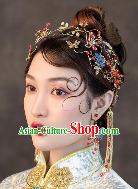 Chinese Ancient Handmade Bride Hair Clasp Hairpins Traditional Classical Wedding Hair Accessories for Women