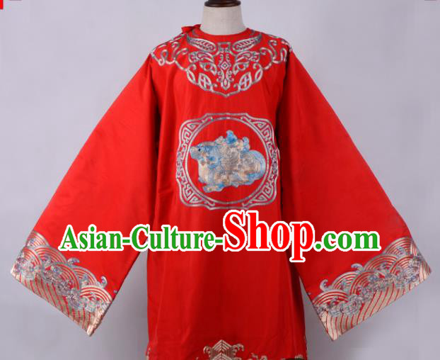 Professional Chinese Beijing Opera Minister Costume Ancient Scholar Red Robe for Adults