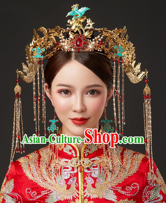 Chinese Ancient Cloisonne Cranes Phoenix Coronet Bride Hairpins Traditional Wedding Hair Accessories for Women