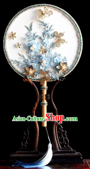 Chinese Handmade Classical Blue Flowers Palace Fans Wedding Bride Accessories Round Fan for Women