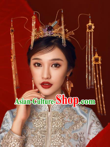 Chinese Ancient Bride Hairpins Golden Tassel Phoenix Coronet Traditional Hair Accessories Headdress for Women