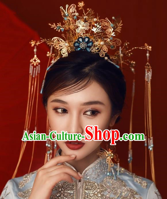 Chinese Ancient Bride Hairpins Golden Butterfly Tassel Phoenix Coronet Traditional Hair Accessories Headdress for Women