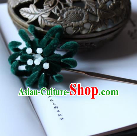 Top Grade Chinese Ancient Palace Deep Green Velvet Chrysanthemum Hairpins Traditional Hair Accessories Headdress for Women