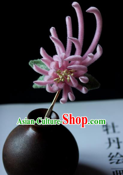 Top Grade Chinese Ancient Palace Pink Velvet Chrysanthemum Hairpins Traditional Hair Accessories Headdress for Women