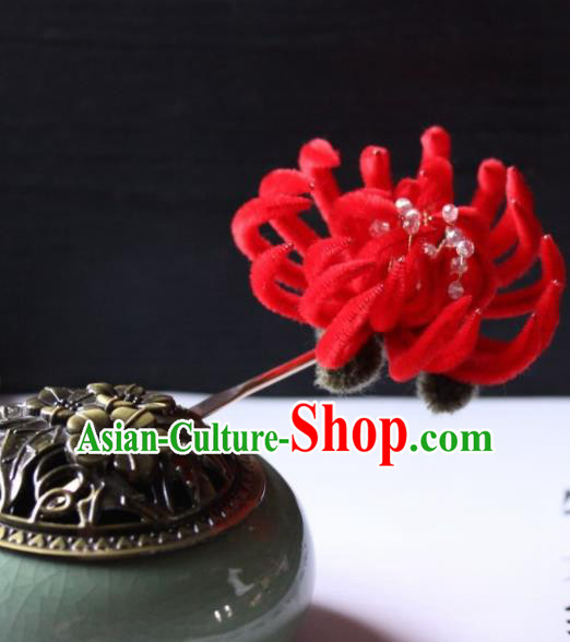 Top Grade Chinese Ancient Palace Red Velvet Chrysanthemum Hairpins Traditional Hair Accessories Headdress for Women