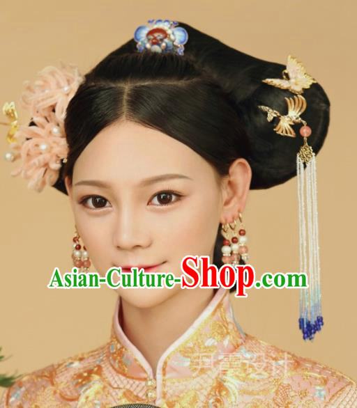 Top Grade Chinese Ancient Palace Queen Velvet Hairpins Traditional Hair Accessories Headdress for Women