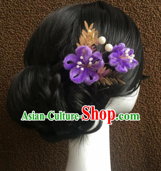 Top Grade Chinese Ancient Queen Purple Velvet Flower Hairpins Traditional Hair Accessories Headdress for Women