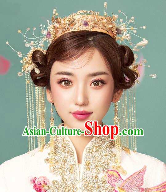 Chinese Ancient Palace Phoenix Coronet Hairpins Traditional Wedding Hair Accessories for Women