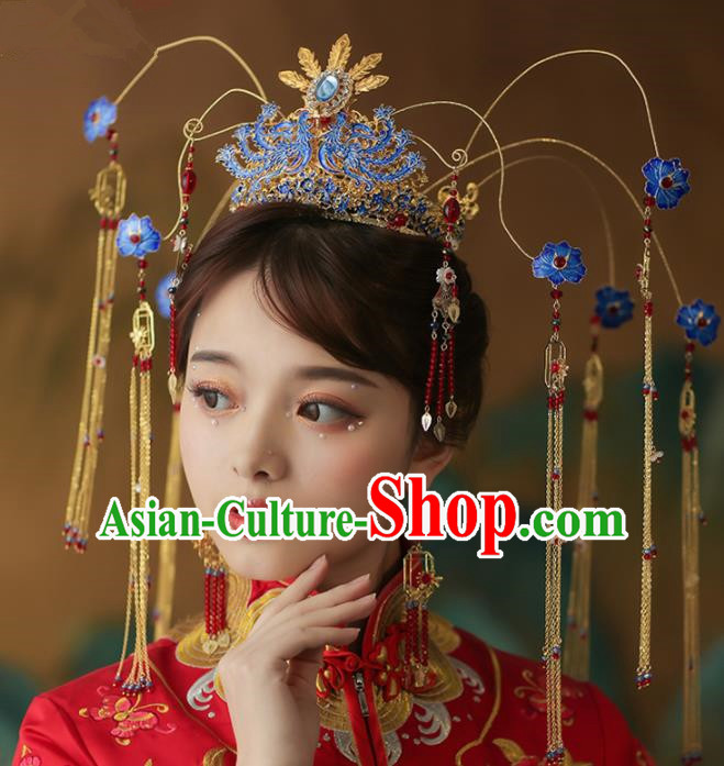 Chinese Ancient Palace Blueing Peony Phoenix Coronet Tassel Hairpins Traditional Wedding Hair Accessories for Women