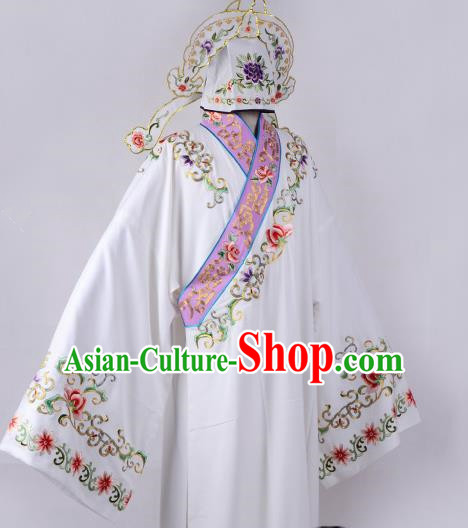 Professional Chinese Beijing Opera Niche Costume Ancient Scholar White Robe for Adults