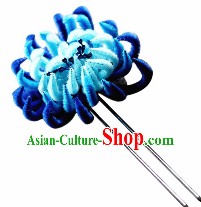 Chinese Traditional Palace Blue Velvet Flower Hairpins Ancient Wedding Hair Accessories for Women
