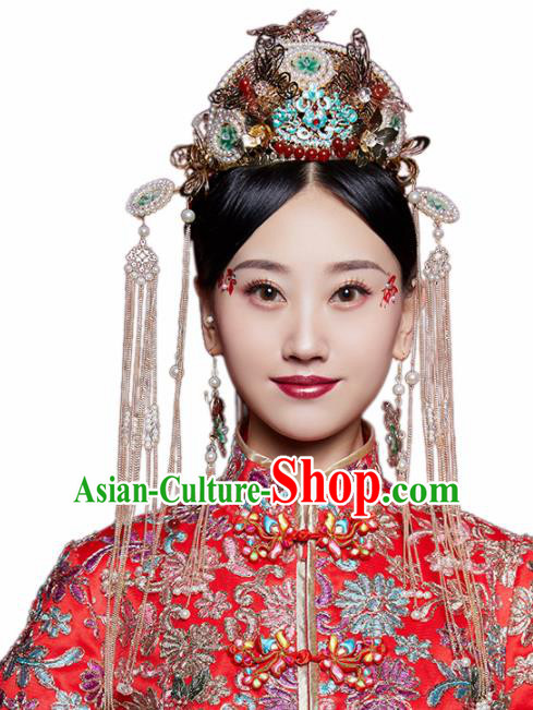 Chinese Ancient Palace Queen Cloisonne Phoenix Coronet Hairpins Traditional Hair Accessories Headdress for Women