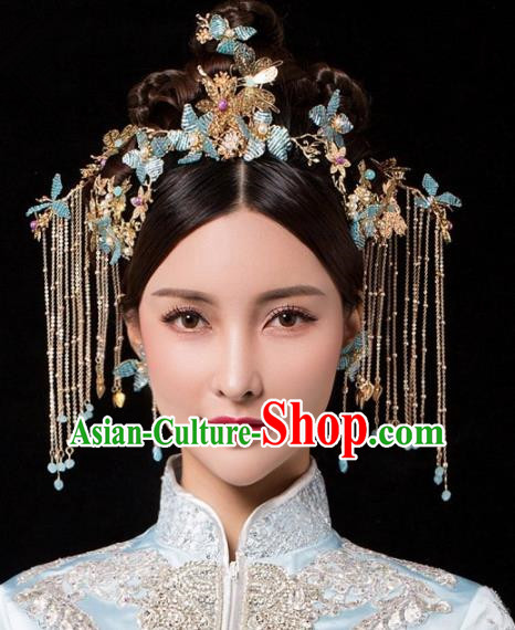 Chinese Ancient Palace Queen Blue Beads Phoenix Coronet Hairpins Traditional Hair Accessories Headdress for Women