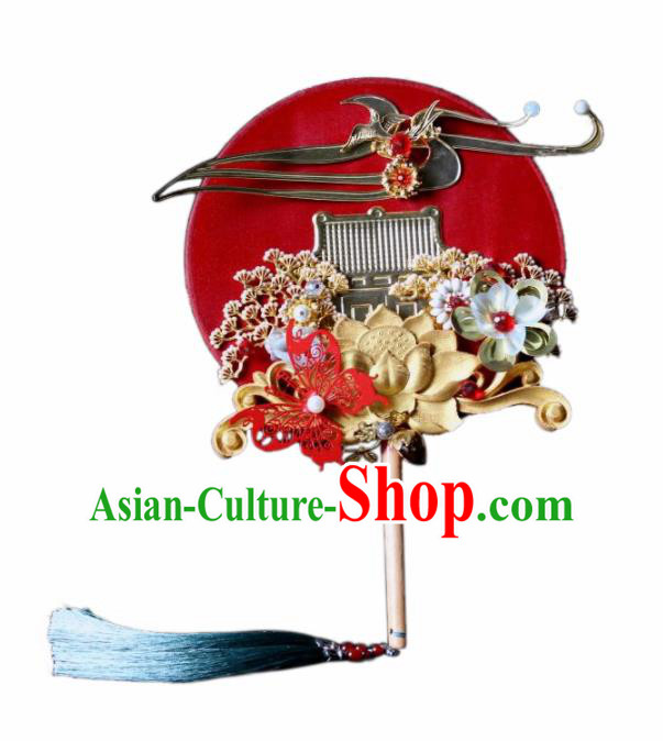 Chinese Handmade Classical Red Palace Fans Wedding Bride Accessories Round Fan for Women
