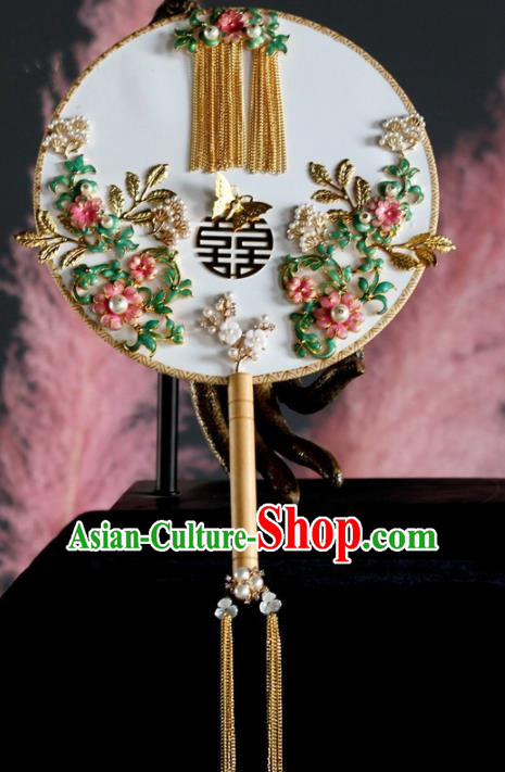 Chinese Handmade Classical Cloisonne Palace Fans Wedding Bride Accessories Round Fan for Women
