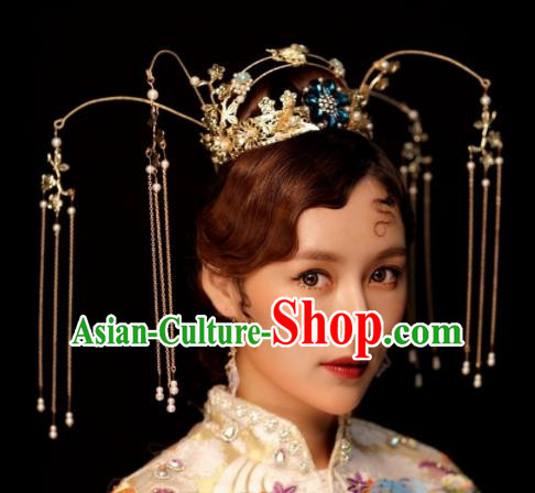 Chinese Ancient Palace Tassel Phoenix Coronet Hairpins Traditional Hair Accessories Headdress for Women