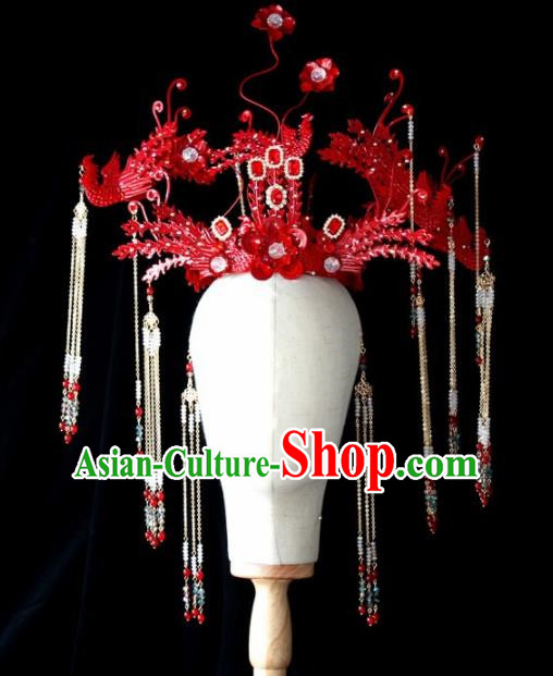 Chinese Ancient Palace Red Phoenix Coronet Hairpins Traditional Hair Accessories Headdress for Women