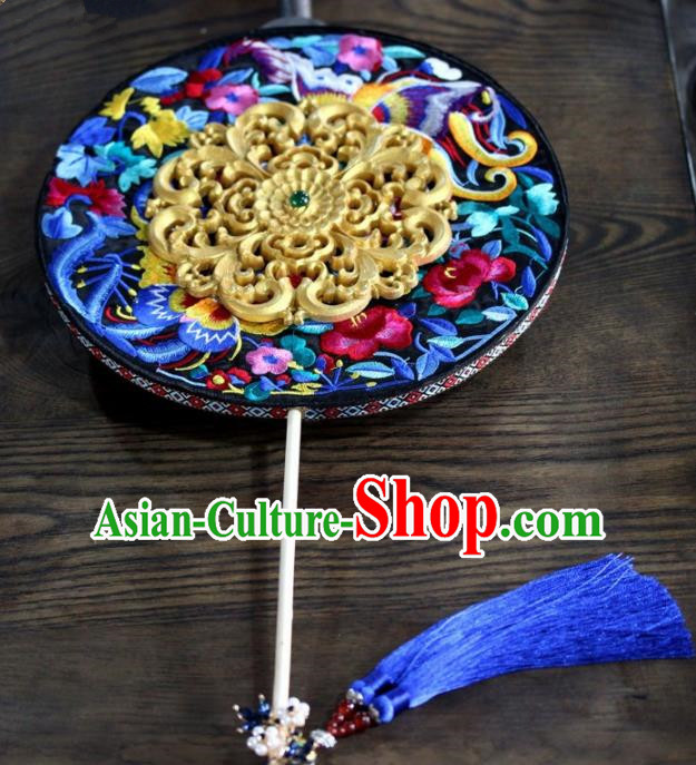 Chinese Handmade Classical Carving Palace Fans Wedding Bride Accessories Blue Round Fan for Women