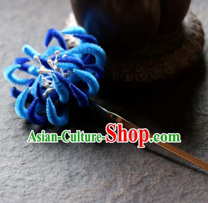 Chinese Ancient Queen Blue Velvet Chrysanthemum Hairpins Traditional Palace Hair Accessories Headdress for Women