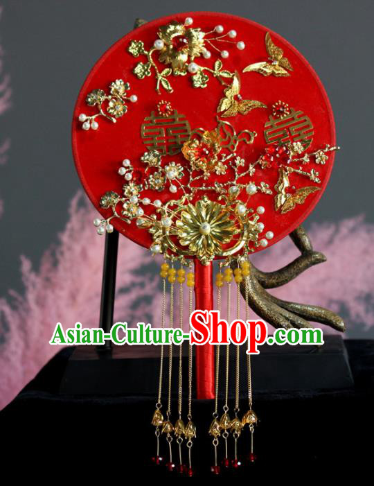 Chinese Handmade Bride Classical Red Palace Fans Wedding Accessories Round Fan for Women