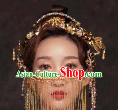 Chinese Ancient Queen Golden Peony Hair Clasp Hairpins Traditional Palace Hair Accessories Headdress for Women